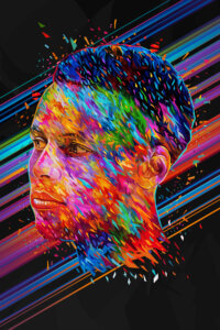 Multi-colored graphic of Stephen Curry
