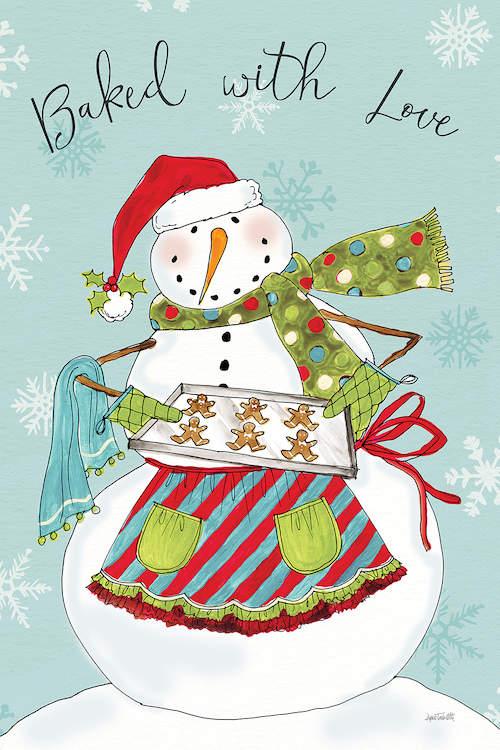 "Snowman wearing a Santa hat, scarf, and apron holding a tray of gingerbread cookies with text that says ""Baked with love"""