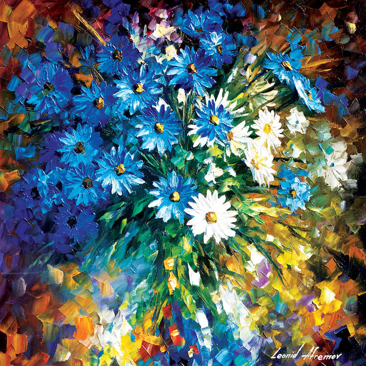 Textured painting of blue and white flowers on a multicolored abstract background