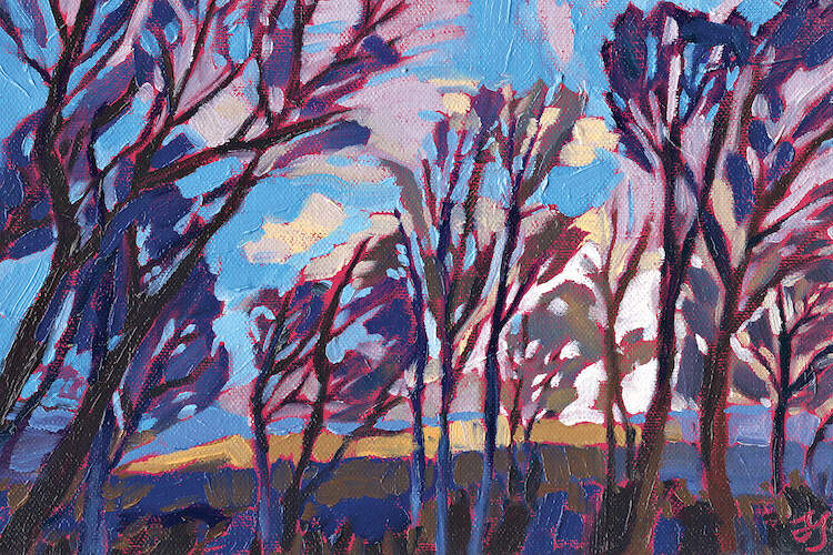"""Bus Stop Sky"" by Jessica Johnson shows bare trees illuminating from the glow of the purple and blue sky."