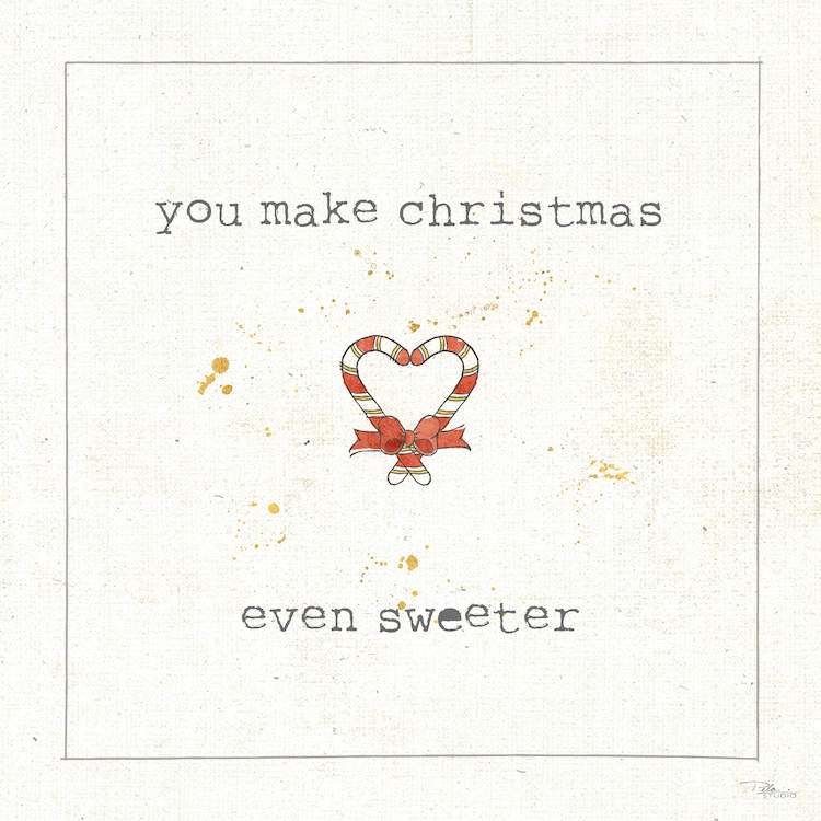"Typography print with two candy canes in the shape of a heart and text that says ""You make Christmas even sweeter"""
