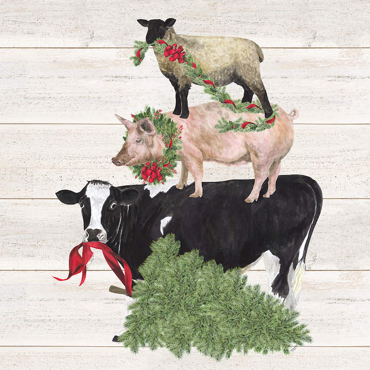 A cow, pig, and sheep all standing on top of each other wearing or holding Christmas wreaths with a Christmas tree on the bottom on a white shiplap background