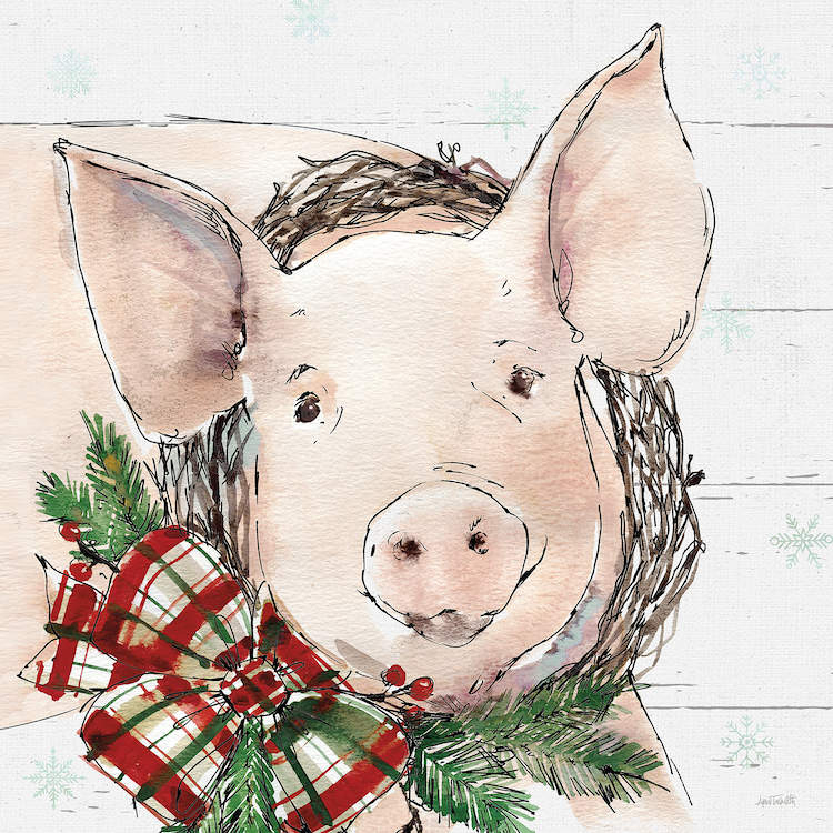 Illustration of a pig wearing a Christmas wreath with a plaid bow around its neck on a white shiplap background