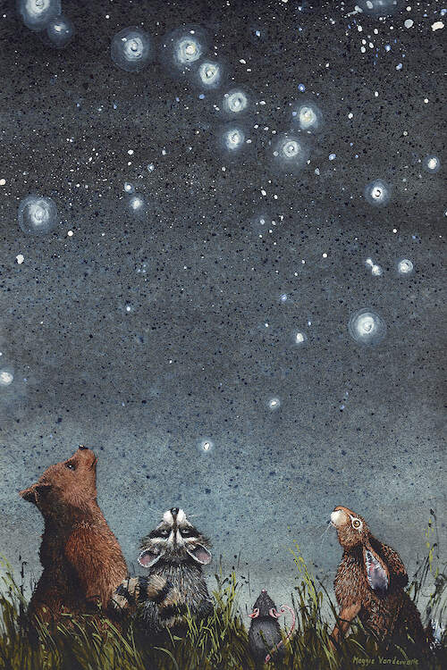 A bear, raccoon, mouse, and rabbit standing in tall grass and looking up at a constellation of stars at night