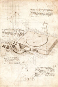 Beige blueprint of a Playstation 1 console with black text