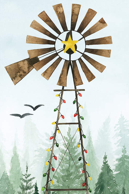 Image of a brown weather vane with a gold star in the center lined with Christmas string lights in a field of pine trees with two black birds in the background