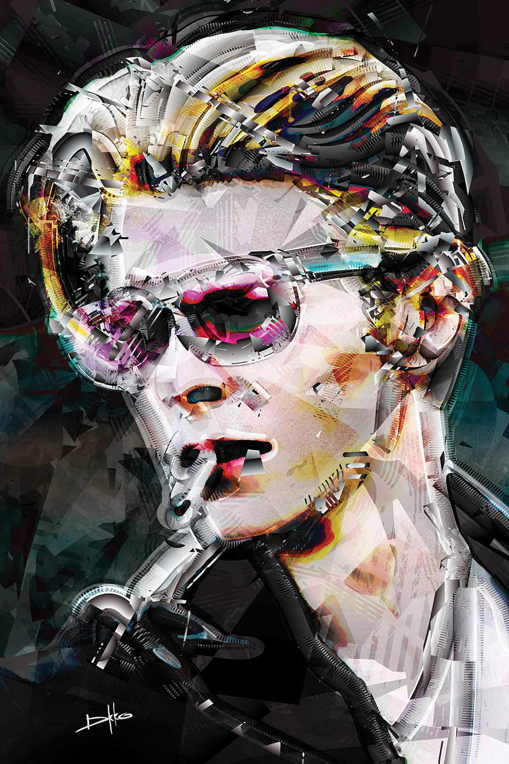 Collage-style image of David Bowie wearing pink sunglasses and smoking a cigarette