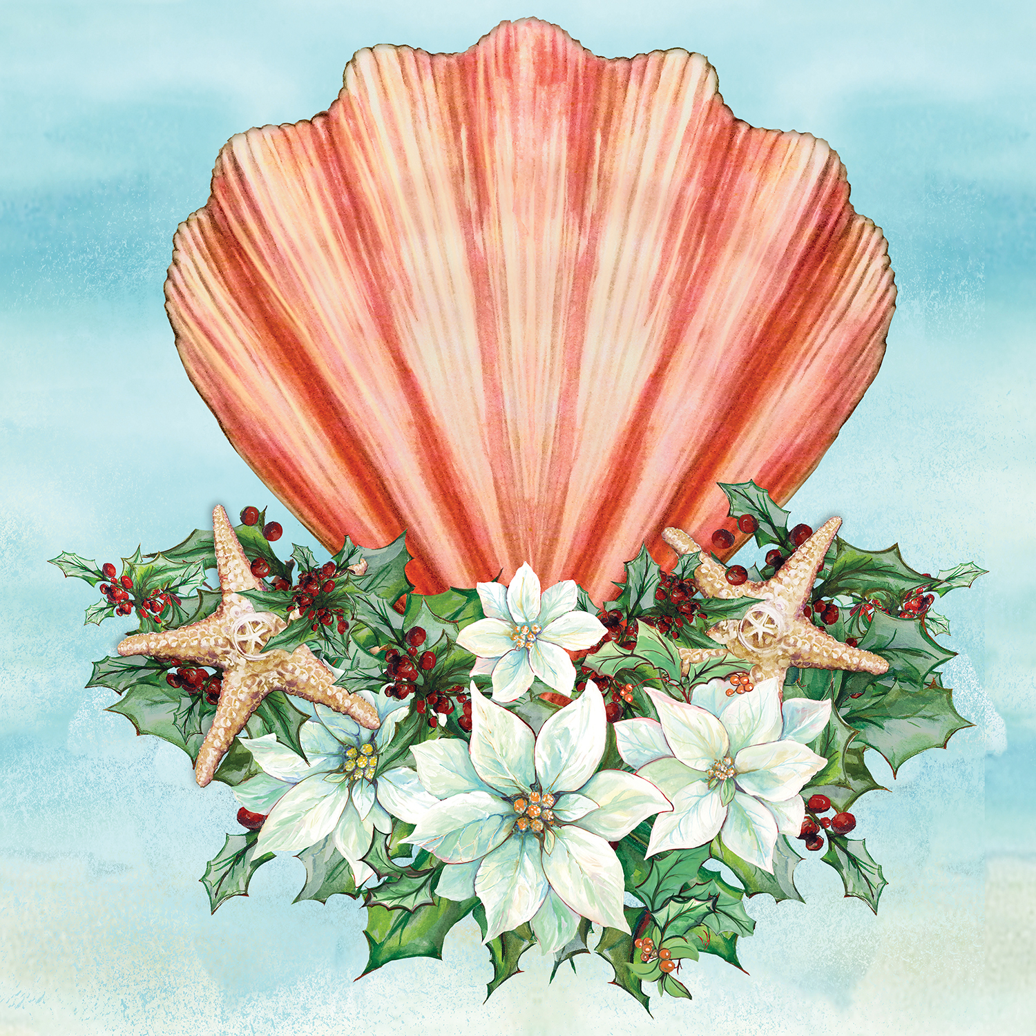 Pink seashell with mistletoe and starfish around it on a blue background