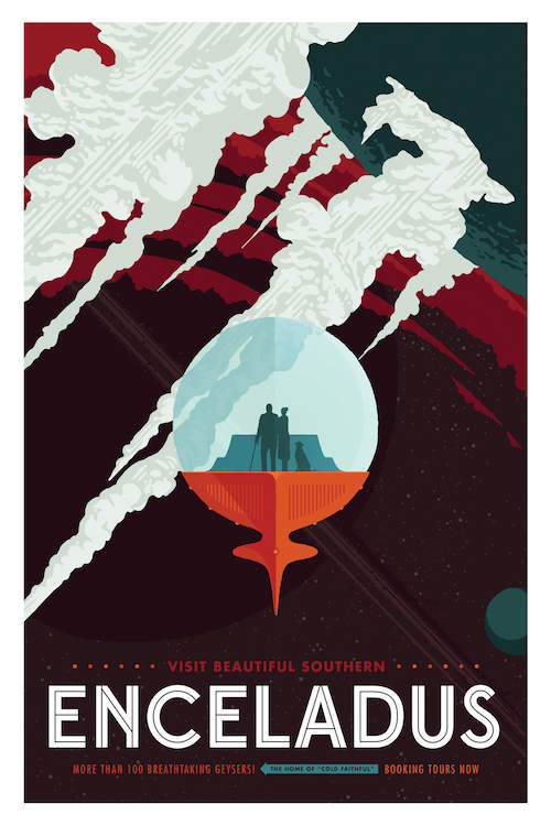 Minimalist vintage-inspired travel poster for Enceladus with two people and a cat in a ship near a moon