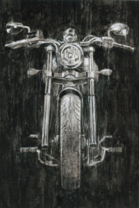 Illustration of front-facing view of a motorcycle on a black background