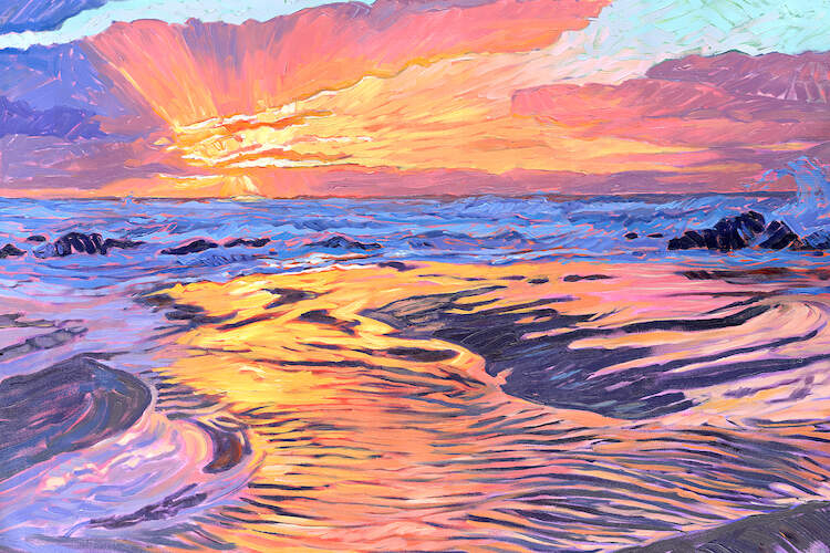 """Fire And Water"" by Jessica Johnson shows a golden sunset casting light across the clouds and over water rivulets."