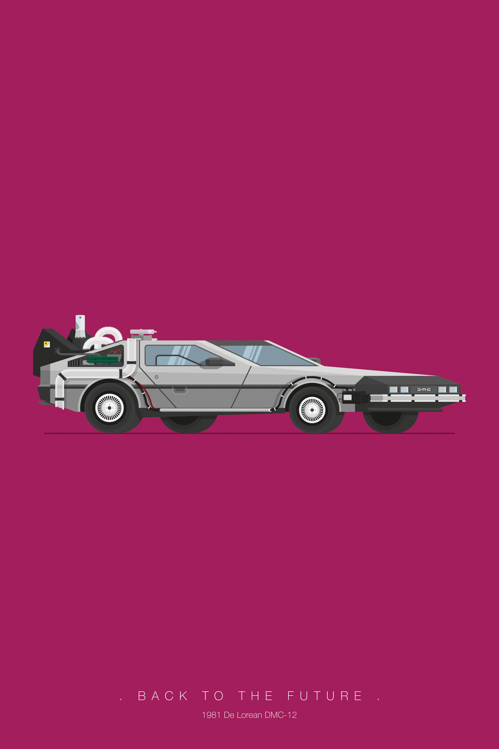 Minimalist poster of DeLorean from Back to the Future on a purple background