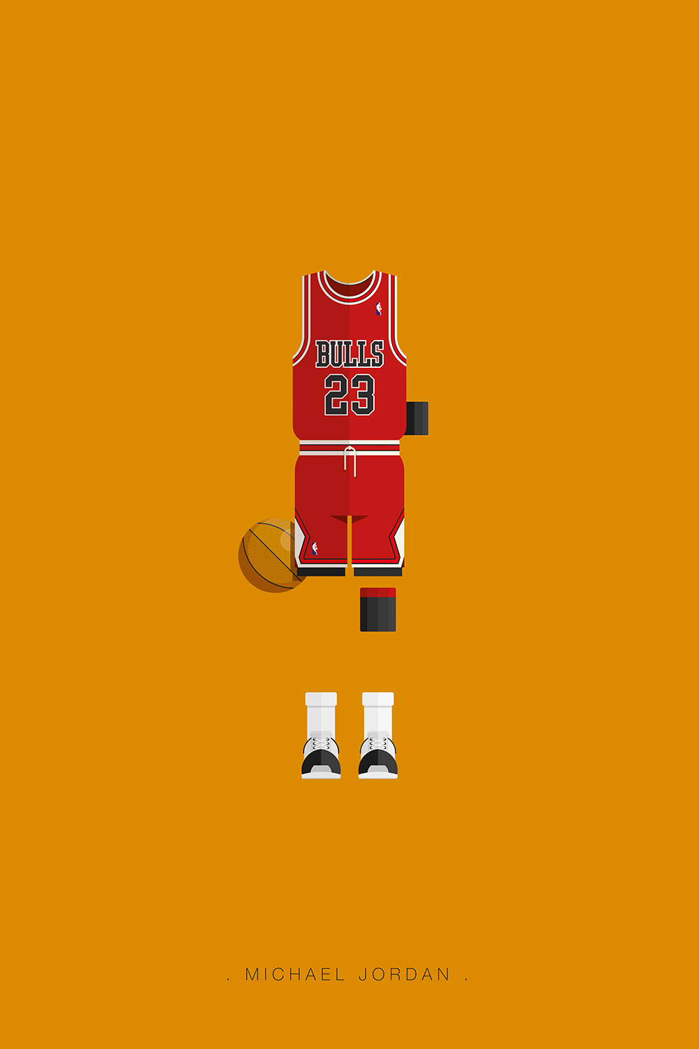 Minimalist poster of Bulls jersey worn by Michael Jordan