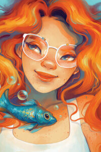 Graphic of a female with glowing red hair wearing white rimmed glasses smiling next to a blue fish with bubbles