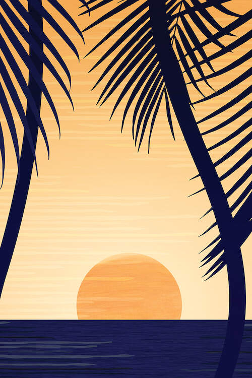 Minimalist graphic of a sun setting over a horizon framed by two palm trees
