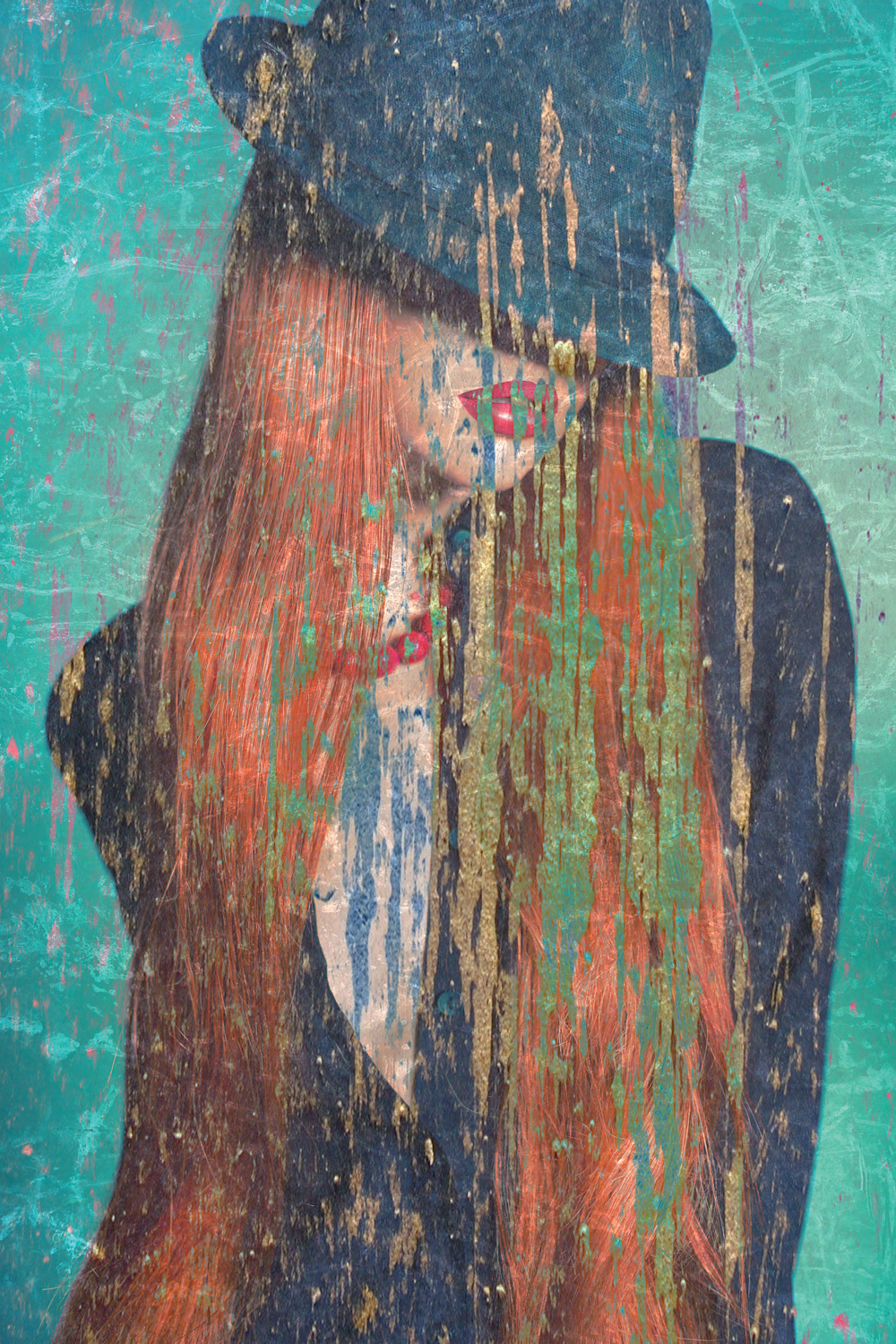 Distressed graphic of a woman with long red hair wearing a fedora covering her eyes on a green background