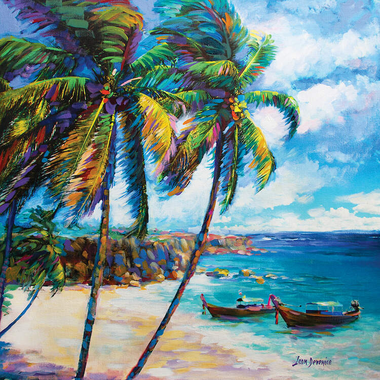 Scene of a colorful beach with two palm trees and two small boats near the shore