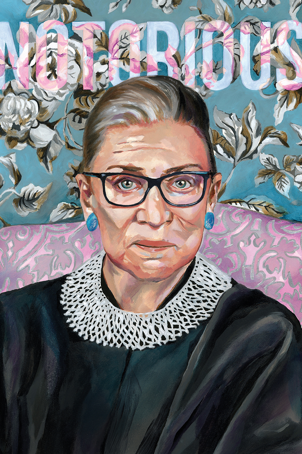 "Portrait of Ruth Bader Ginsberg with a floral backdrop and text that says ""Notorious"""