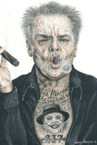 Illustration of Jack Nicholson smoking a cigar wearing a black jacket with Joker and One Flew Over The Cuckoo's Nest tattoos on his chest