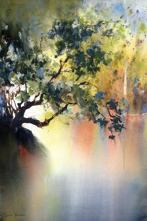 Abstract multicolor landscape partially showing branches on a tree backlit by the sun