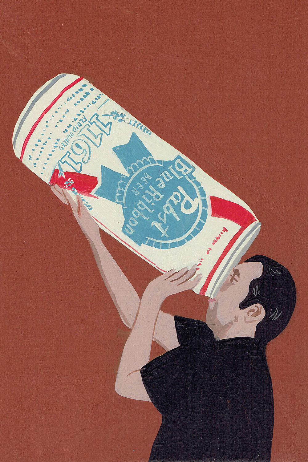 Image of a male with black hair wearing a black shirt drinking out of a giant can of Pabst Blue Ribbon