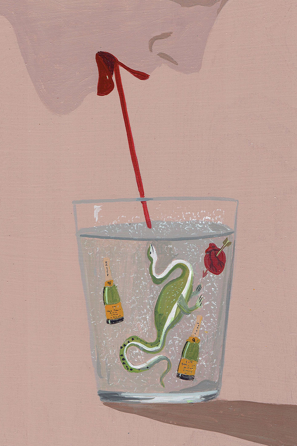 Image of a female with red lips sipping a drink through a straw that has a dinosaur, a heart with an arrow through it, and two champagne bottles floating in it