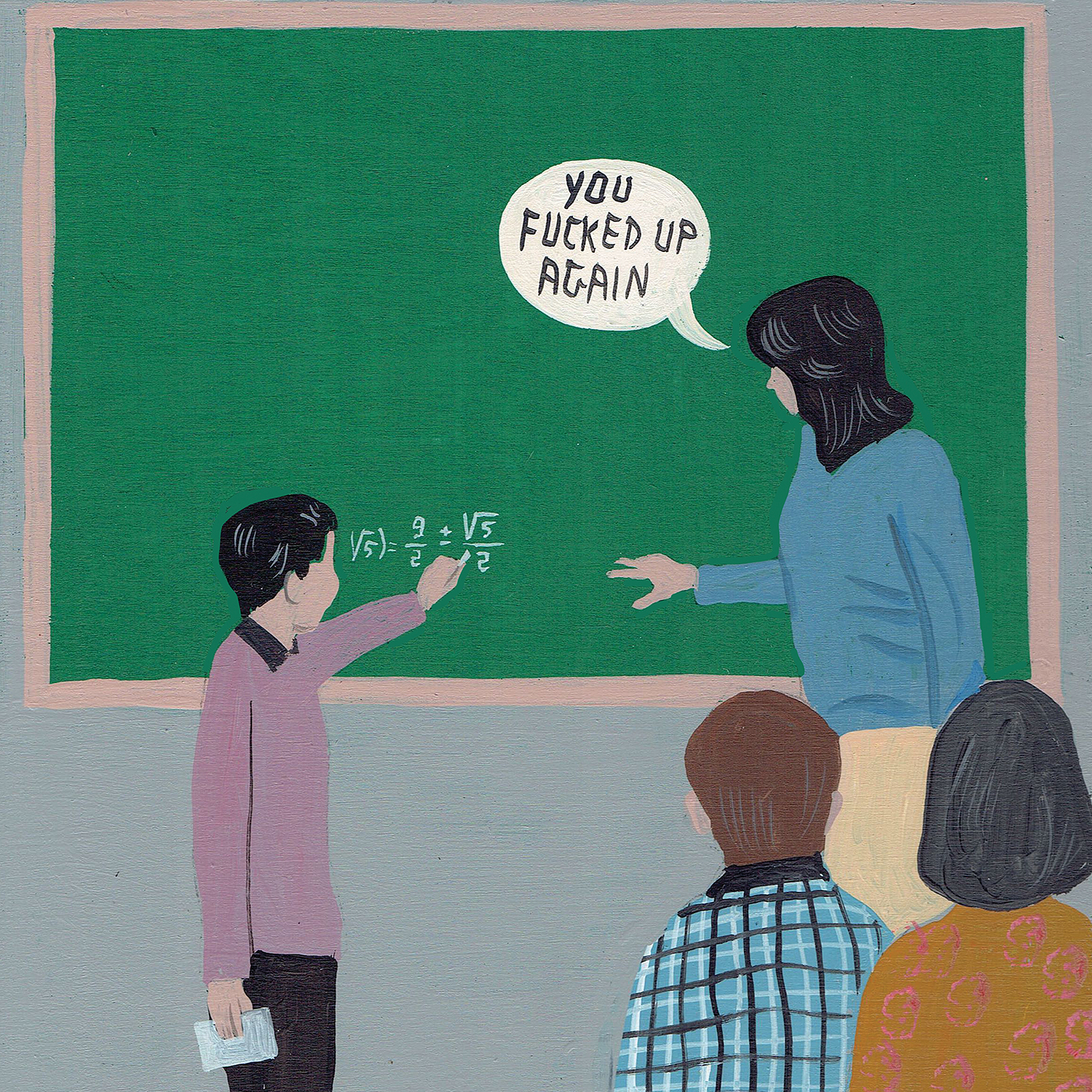 Image of student writing on a chalkboard and teacher correcting his work with a speech bubble
