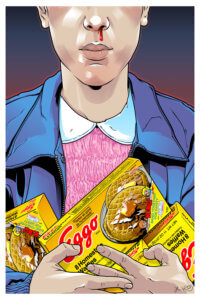 Graphic of Eleven from Stranger Things with a bloody nose holding boxes of Eggo waffles