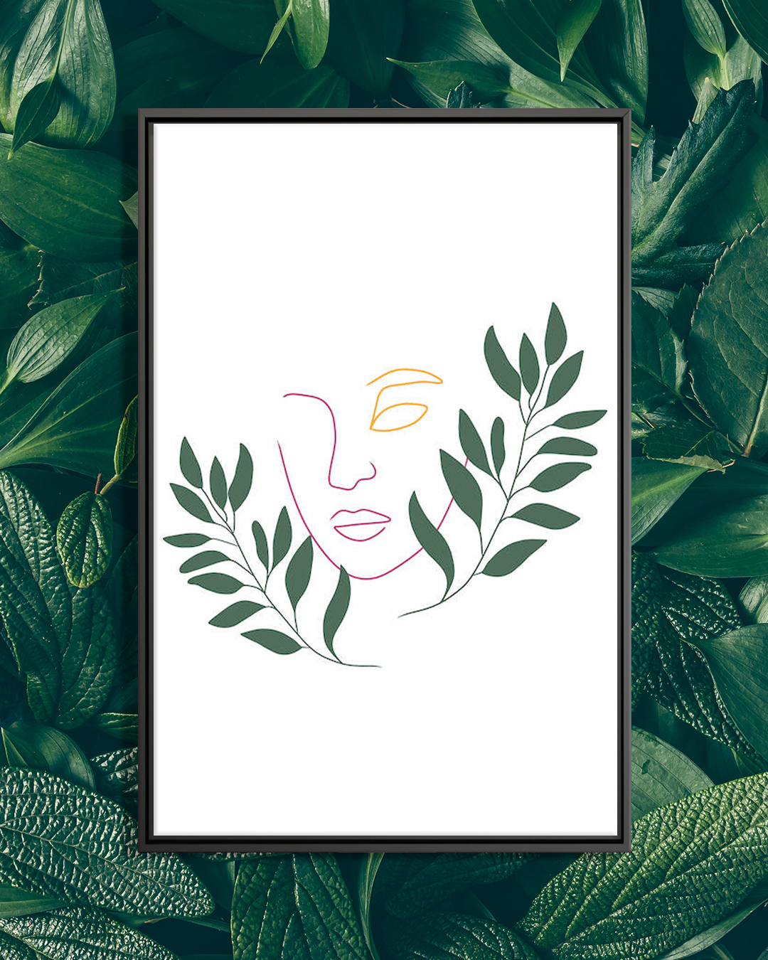 Minimalist line portrait illustration of a female face in yellow and pink with green leaves around it