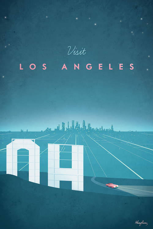 """Minimalist graphic of Los Angeles from behind the Hollywood hills sign overlooking a highway leading to the downtown skyline at night with bright lights and text that says """"Visit Los Angeles"""""""
