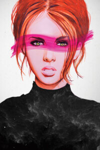 Graphic of a woman with red hair tied up wearing a black turtleneck and a pink streak of paint across her eyes