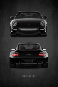 Poster with photo of front and back end of a Porsche 911 Carrera Turbo on a black background