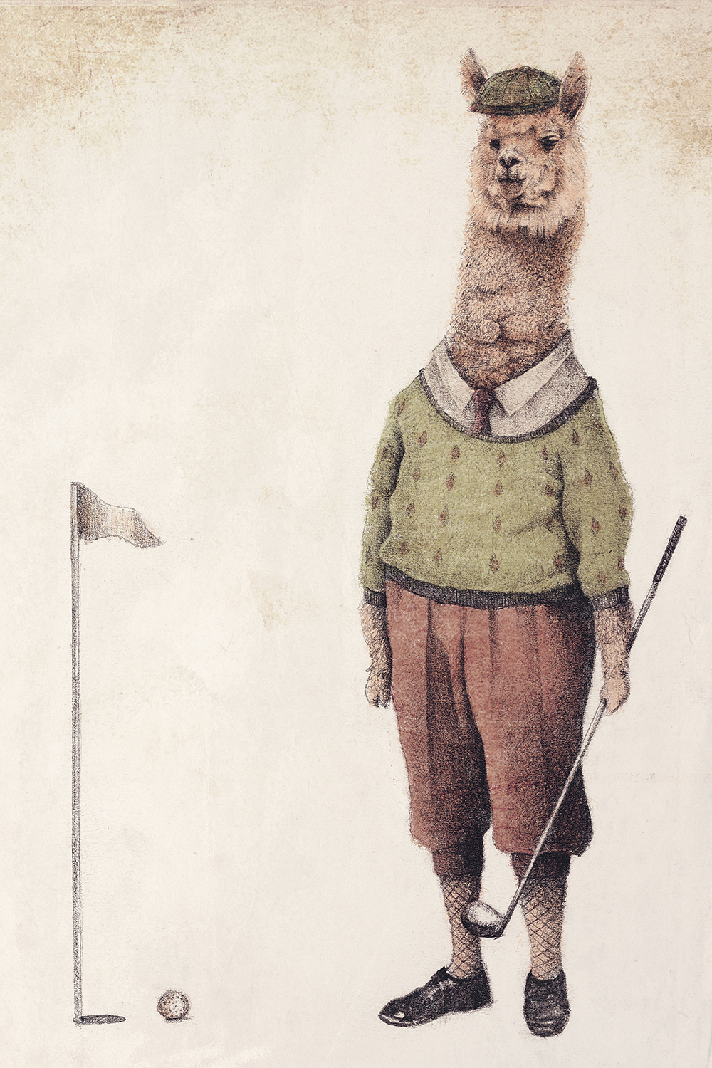 Illustration of an alpaca wearing a golf uniform holding a club next to a tee and golf ball