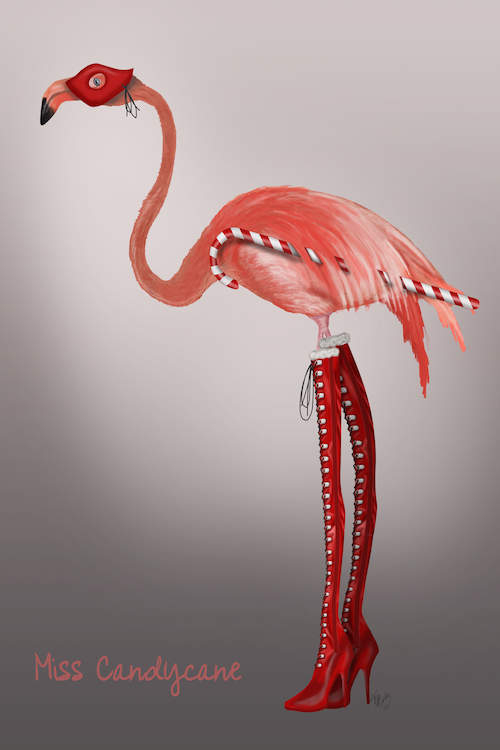 Pink flamingo wearing a red eye mask and red lace up high heel boots holding a candy cane