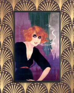 Image of a red haired woman with a short haircut wearing a black dress and smoking a cigarette in 1920s style on an art deco patterned background