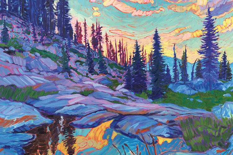 """Mountain Revelry"" by Jessica Johnson shows pine trees under a blue, pink, and yellow sky that's casting light on the water."
