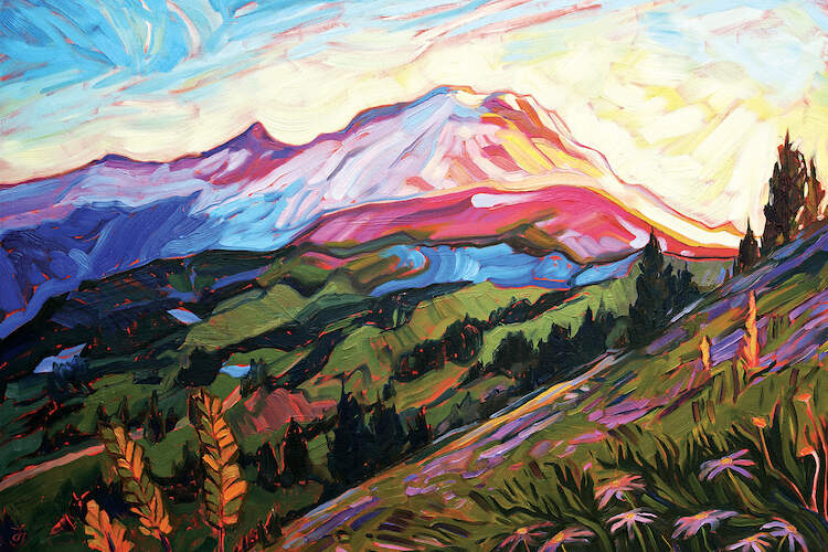 """Mt Rainier"" by Jessica Johnson shows a mountainscape filled with greenery and flowers under a colorful sky."