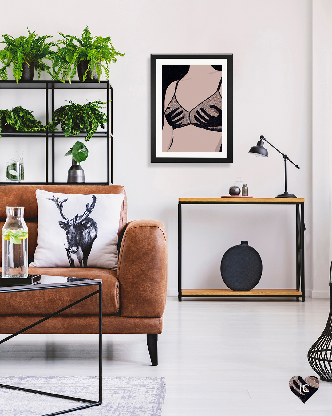 Art print showing a female chest wearing a bra with black hands covering the boobs in a room with a brown leather sofa, plants, and a black vase