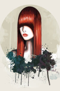 Graphic of a female with red hair and long bangs covering her eyes with decorative elements under her portrait
