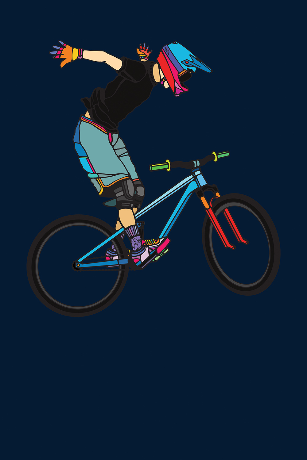 Graphic of a BMX rider doing a jump on a bike on a dark blue background