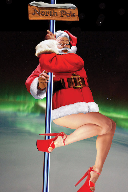 Santa with female legs and high heels swinging around a stripper pole with a sign that says North Pole