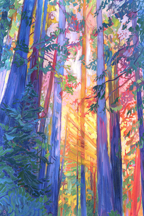 """Old Souls Dream"" by Jessica Johnson shows large, colorful redwood tree trunks with beams of sunlight passing through them."