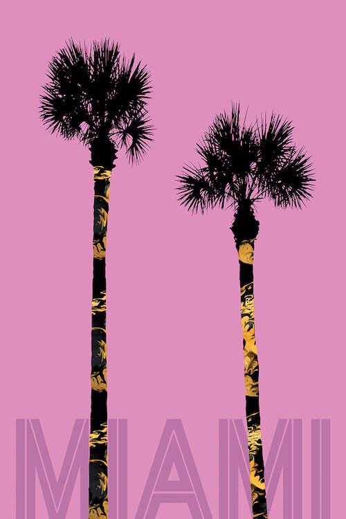 """Minimalist graphic of two shadowed palm trees over a pink background with text that says """"Miami"""" at the bottom"""