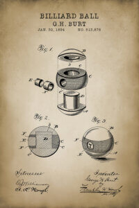 Beige blueprint of billiard balls with black text
