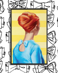 Image of a woman with red hair pulled into an updo with her back turned wearing a blue shirt with a bow on the back on a yellow background