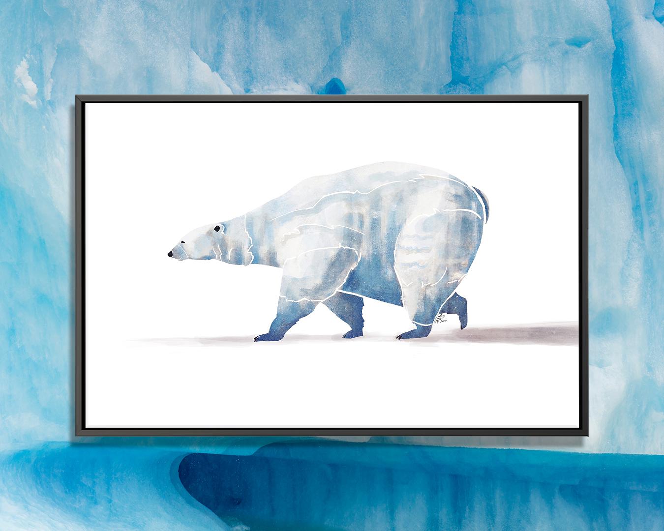 """Polar Bear"" by SAEIART shows a blue polar bear mid-walk against a white background."
