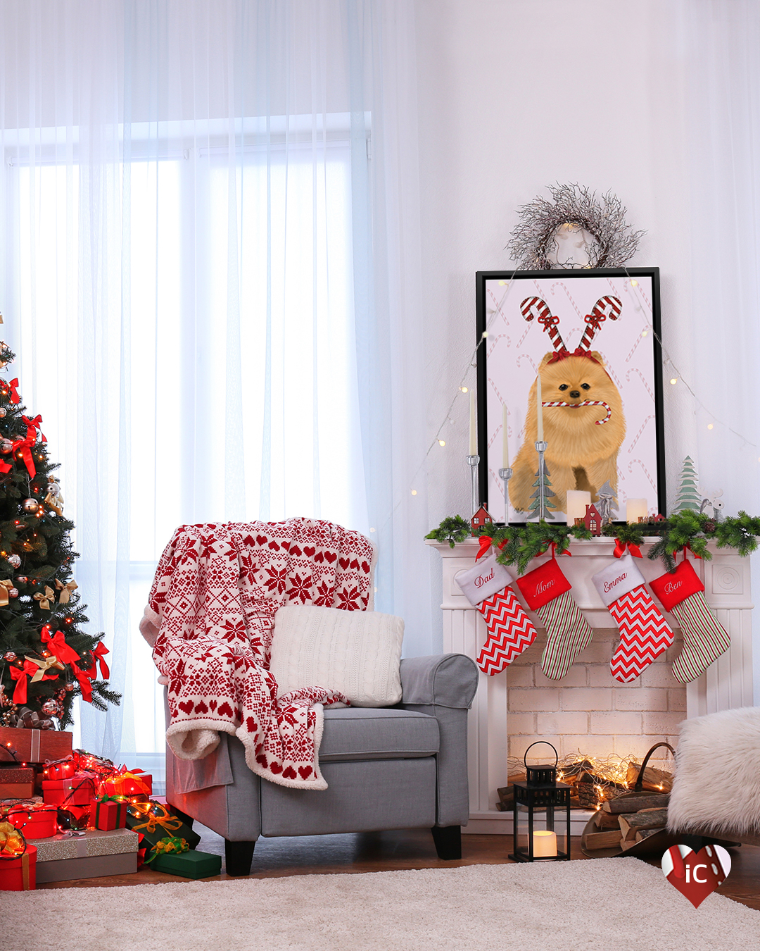 Graphic of a Pomeranian wearing a candy cane hat with a candy cane in its mouth framed on a mantle in a living room with a Christmas tree, presents, and a holiday blanket