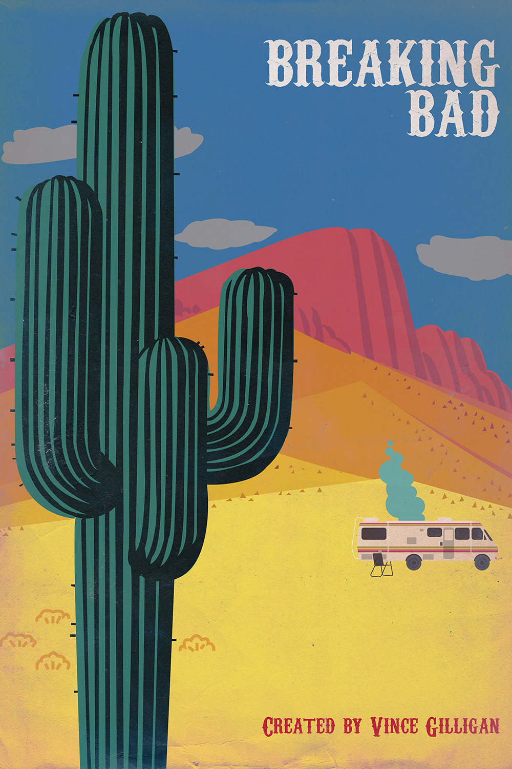 Vintage-style graphic poster of Breaking Bad with cactus and RV with blue smoke in the background in the desert