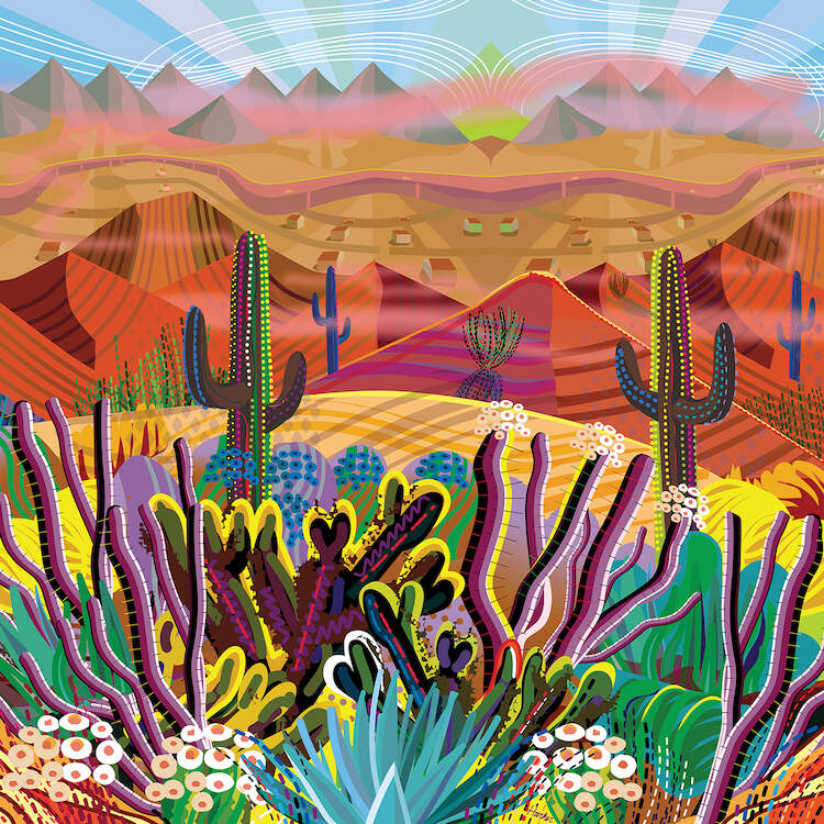 Colorful Southwestern scene of a desert with mountain peaks and various types of cactuses