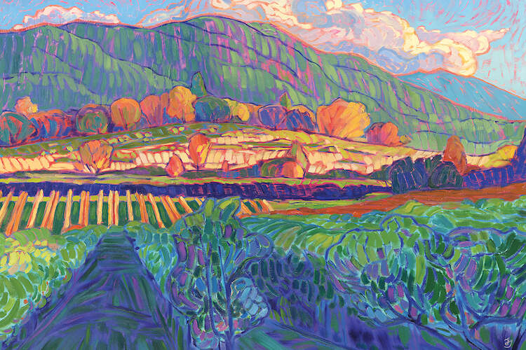 """Receding Light"" by Jessica Johnson shows sunlight cascading over distant hills and vibrant trees spread across a vineyard."